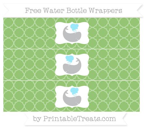 Free Pistachio Green Quatrefoil Pattern Whale Water Bottle Wrappers