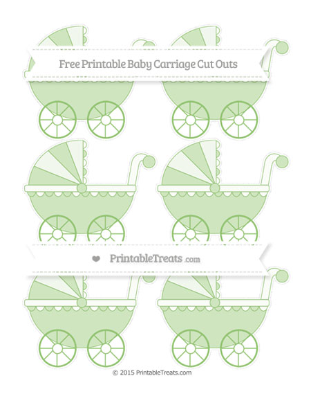 Free Pistachio Green Small Baby Carriage Cut Outs