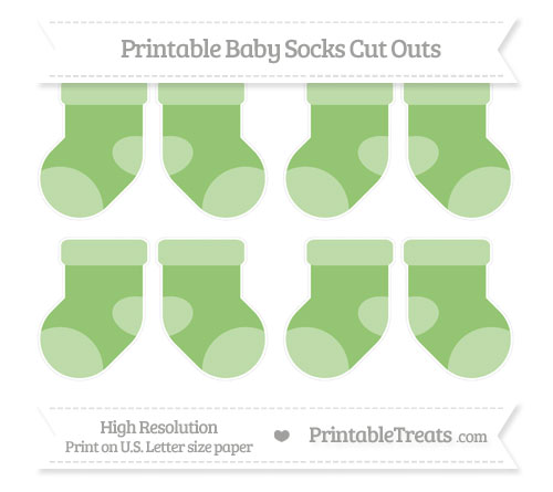Free Pistachio Green Small Baby Socks Cut Outs