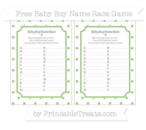 Free Pistachio Green Star Pattern Baby Boy Name Race Game