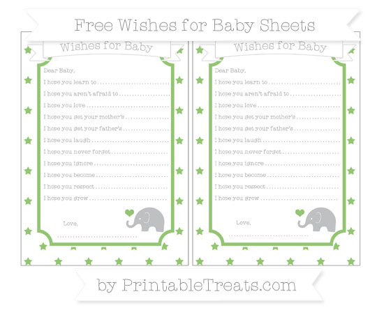 Free Pistachio Green Star Pattern Baby Elephant Wishes for Baby Sheets