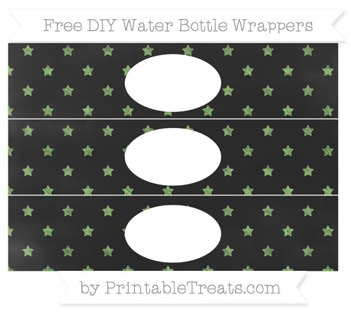 Free Pistachio Green Star Pattern Chalk Style DIY Water Bottle Wrappers