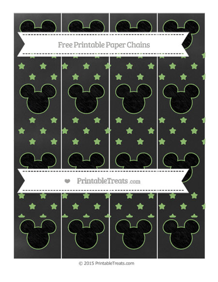 Free Pistachio Green Star Pattern Chalk Style Mickey Mouse Paper Chains