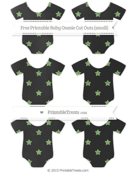 Free Pistachio Green Star Pattern Chalk Style Small Baby Onesie Cut Outs