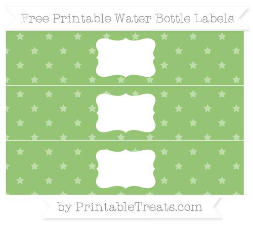 Free Pistachio Green Star Pattern Water Bottle Labels