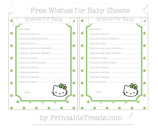 Free Pistachio Green Star Pattern Hello Kitty Wishes for Baby Sheets