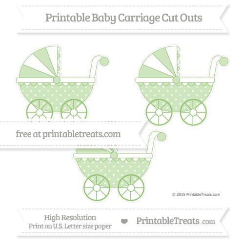 Free Pistachio Green Star Pattern Medium Baby Carriage Cut Outs