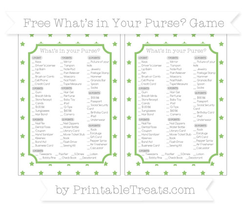 Free Pistachio Green Star Pattern What's in Your Purse Baby Shower Game