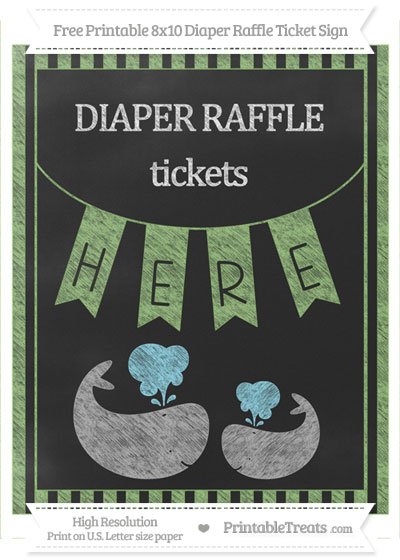 Free Pistachio Green Striped Chalk Style Baby Whale 8x10 Diaper Raffle Ticket Sign
