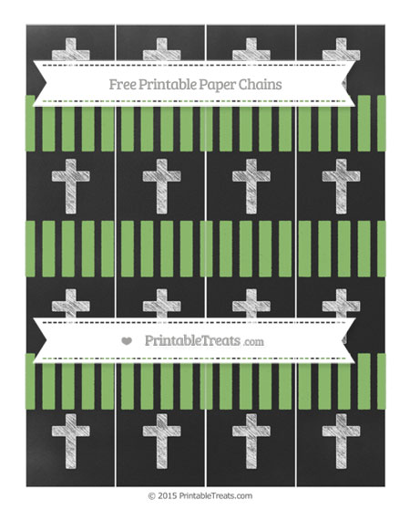 Free Pistachio Green Striped Chalk Style Cross Paper Chains