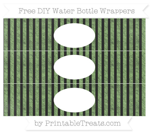 Free Pistachio Green Striped Chalk Style DIY Water Bottle Wrappers