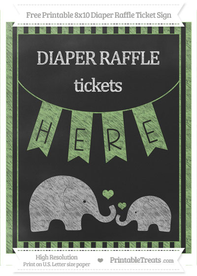 Free Pistachio Green Striped Chalk Style Elephant 8x10 Diaper Raffle Ticket Sign