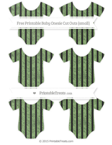 Free Pistachio Green Striped Chalk Style Small Baby Onesie Cut Outs