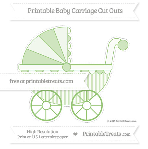 Free Pistachio Green Striped Extra Large Baby Carriage Cut Outs
