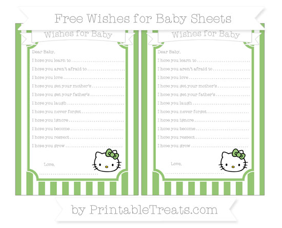 Free Pistachio Green Striped Hello Kitty Wishes for Baby Sheets