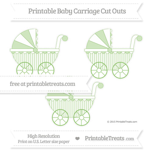 Free Pistachio Green Striped Medium Baby Carriage Cut Outs