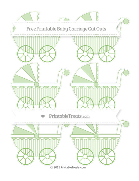Free Pistachio Green Striped Small Baby Carriage Cut Outs