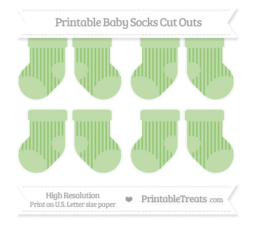 Free Pistachio Green Striped Small Baby Socks Cut Outs
