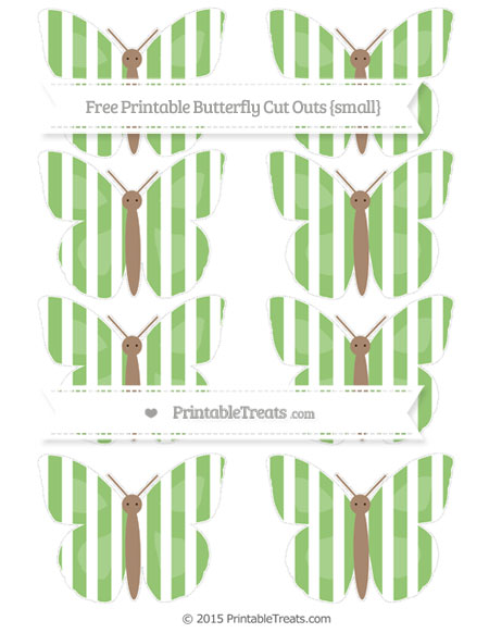 Free Pistachio Green Striped Small Butterfly Cut Outs