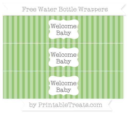 Free Pistachio Green Striped Welcome Baby Water Bottle Wrappers
