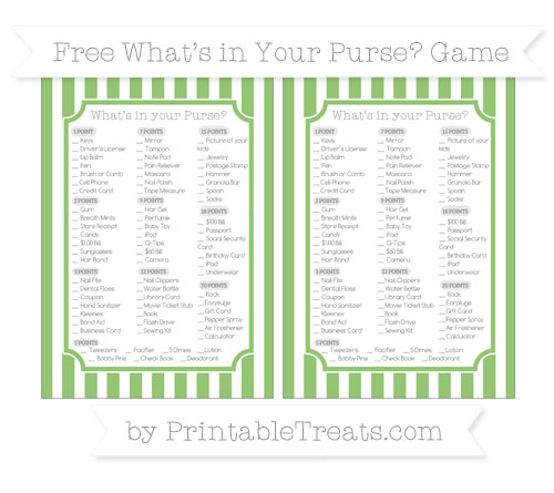 Free Pistachio Green Striped What's in Your Purse Baby Shower Game