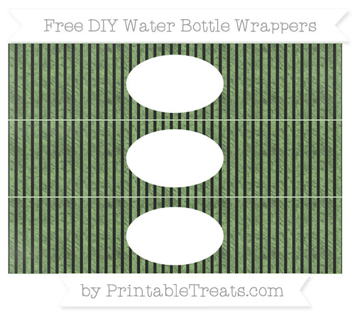 Free Pistachio Green Thin Striped Pattern Chalk Style DIY Water Bottle Wrappers