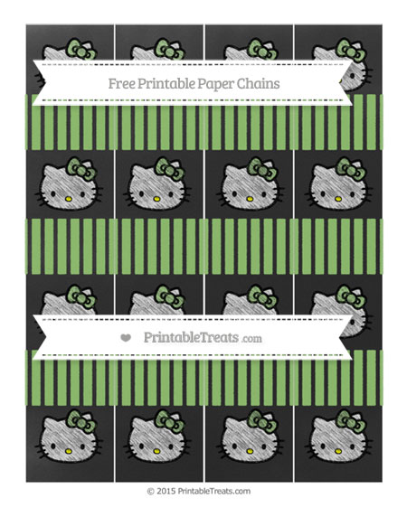 Free Pistachio Green Thin Striped Pattern Chalk Style Hello Kitty Paper Chains