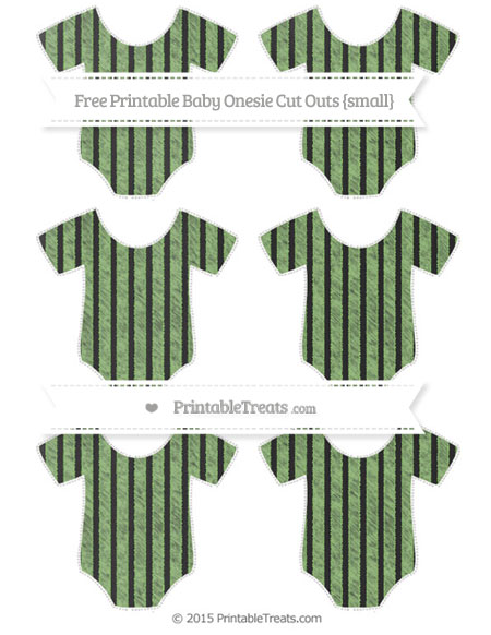 Free Pistachio Green Thin Striped Pattern Chalk Style Small Baby Onesie Cut Outs