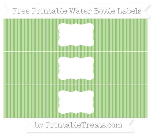 Free Pistachio Green Thin Striped Pattern Water Bottle Labels