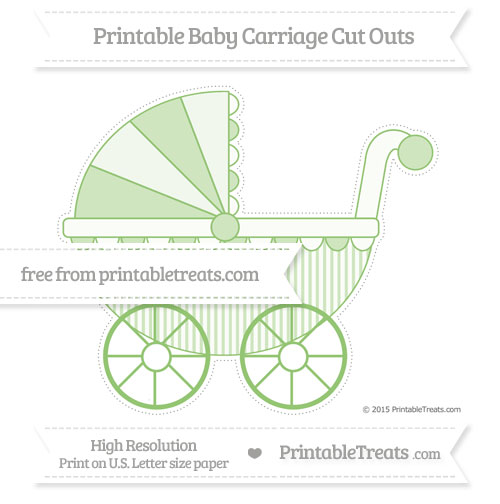Free Pistachio Green Thin Striped Pattern Extra Large Baby Carriage Cut Outs