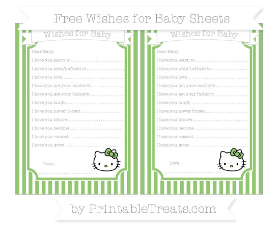 Free Pistachio Green Thin Striped Pattern Hello Kitty Wishes for Baby Sheets