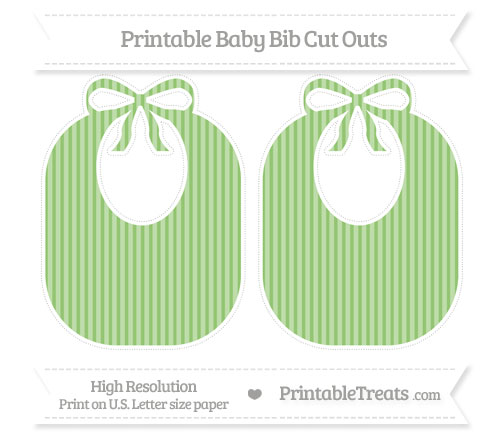 Free Pistachio Green Thin Striped Pattern Large Baby Bib Cut Outs