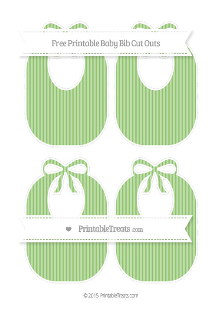 Free Pistachio Green Thin Striped Pattern Medium Baby Bib Cut Outs