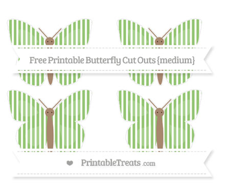Free Pistachio Green Thin Striped Pattern Medium Butterfly Cut Outs