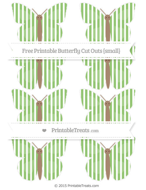 Free Pistachio Green Thin Striped Pattern Small Butterfly Cut Outs