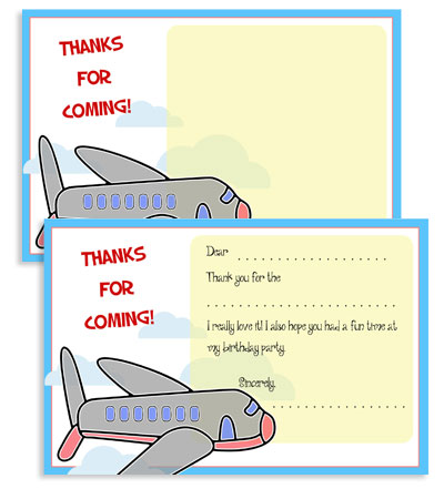 free printable airplane thank you cards