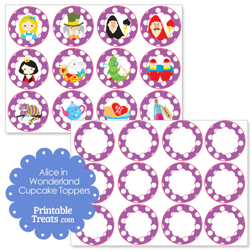 free printable Alice in Wonderland cupcake toppers