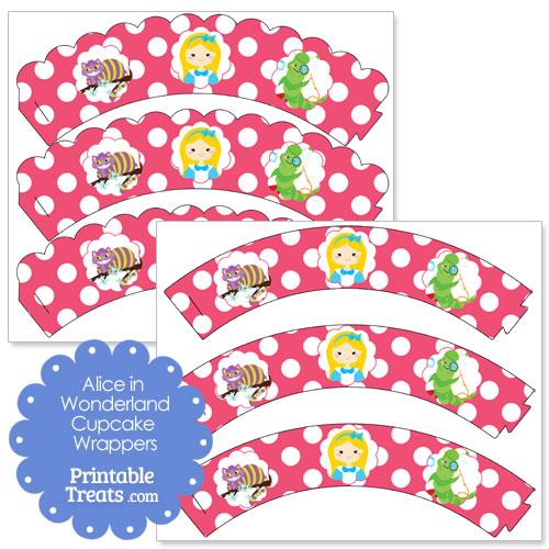 free printable Alice in Wonderland cupcake wrappers