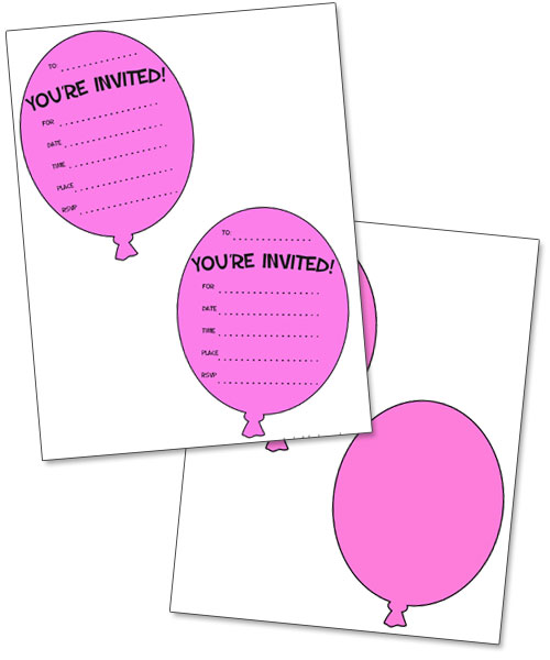 printable pink balloon invitations