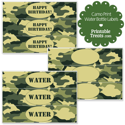 free printable camouflage water bottle labels