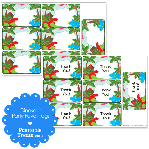 free printable dinosaur thank you tags