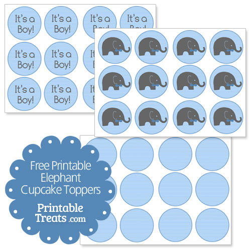 free printable elephant cupcake toppers