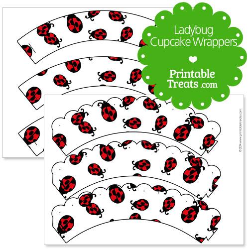 free printable ladybug cupcake wrappers