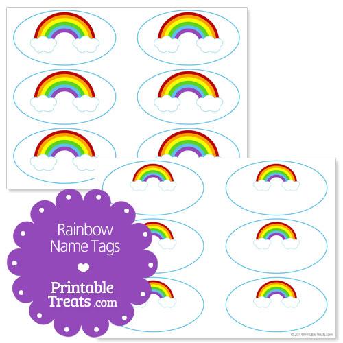 free printable rainbow name tags