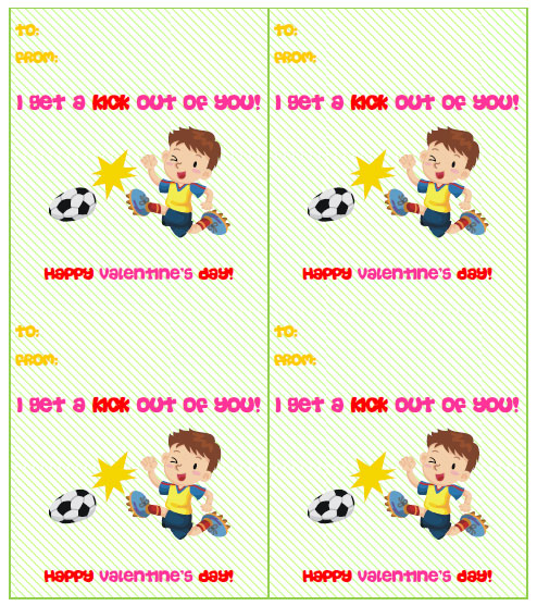free printable soccer valentines cards
