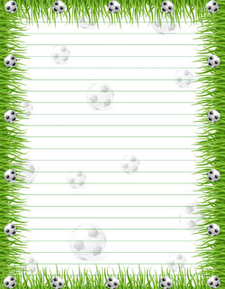 free printable stationery paper soccer with grass