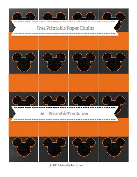 Free Pumpkin Orange Chalk Style Mickey Mouse Paper Chains