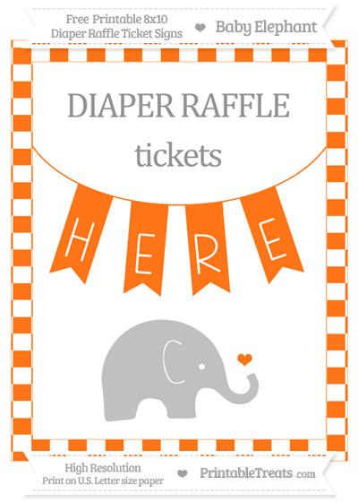 Free Pumpkin Orange Checker Pattern Baby Elephant 8x10 Diaper Raffle Ticket Sign