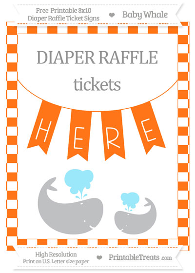 Free Pumpkin Orange Checker Pattern Baby Whale 8x10 Diaper Raffle Ticket Sign