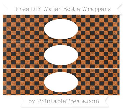 Free Pumpkin Orange Checker Pattern Chalk Style DIY Water Bottle Wrappers